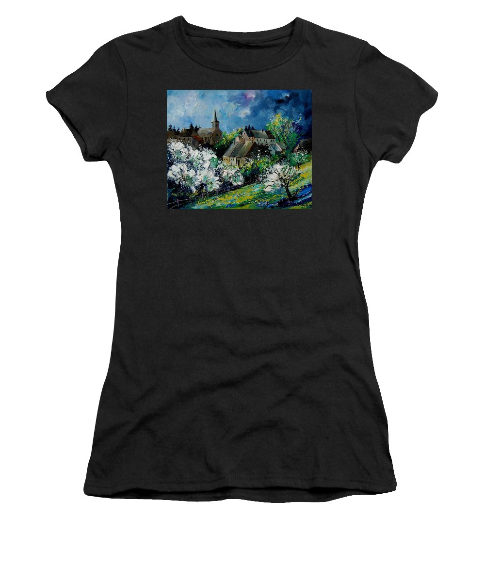 Spring Women's T-Shirt (Athletic Fit) featuring the painting Spring In Fays Famenne by Pol Ledent