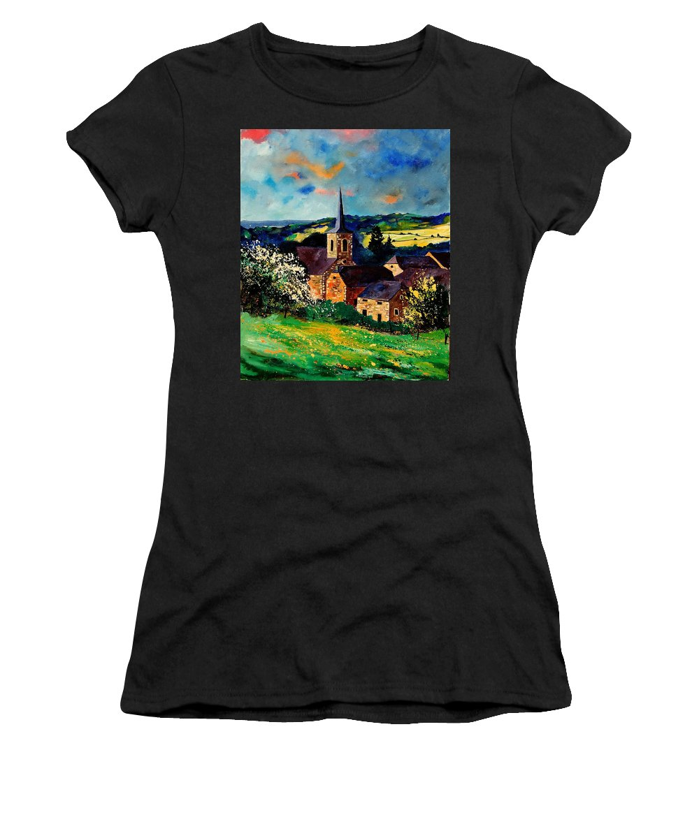 Spring Women's T-Shirt (Athletic Fit) featuring the painting Spring In Gendron by Pol Ledent