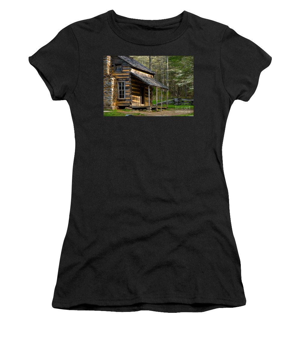 The Great Smokey Mountians National Park Women's T-Shirt featuring the photograph Spring In The Smokies by Tony Bazidlo