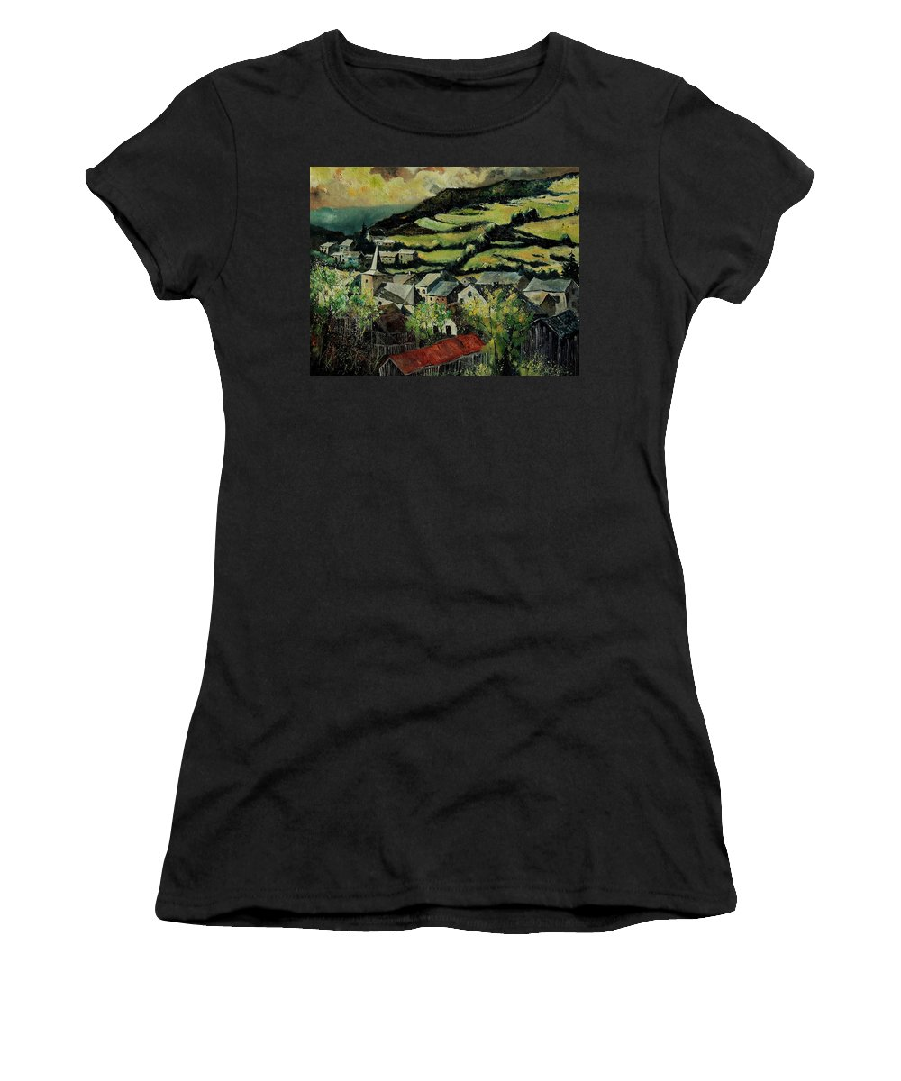 Spring Women's T-Shirt (Athletic Fit) featuring the painting Spring In Vresse Ardennes Belgium by Pol Ledent