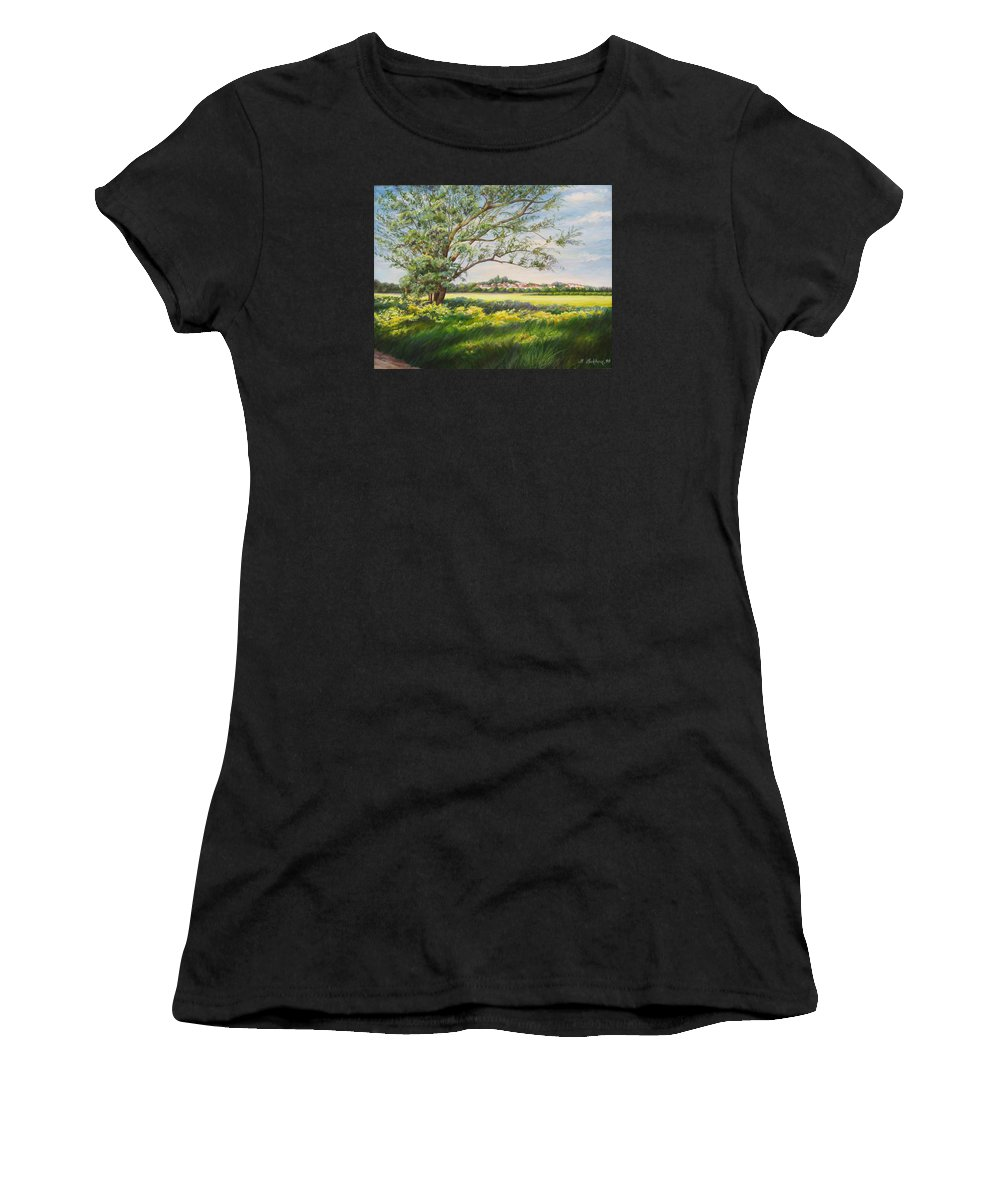 Landscape Women's T-Shirt (Athletic Fit) featuring the painting Spring by Maya Bukhina