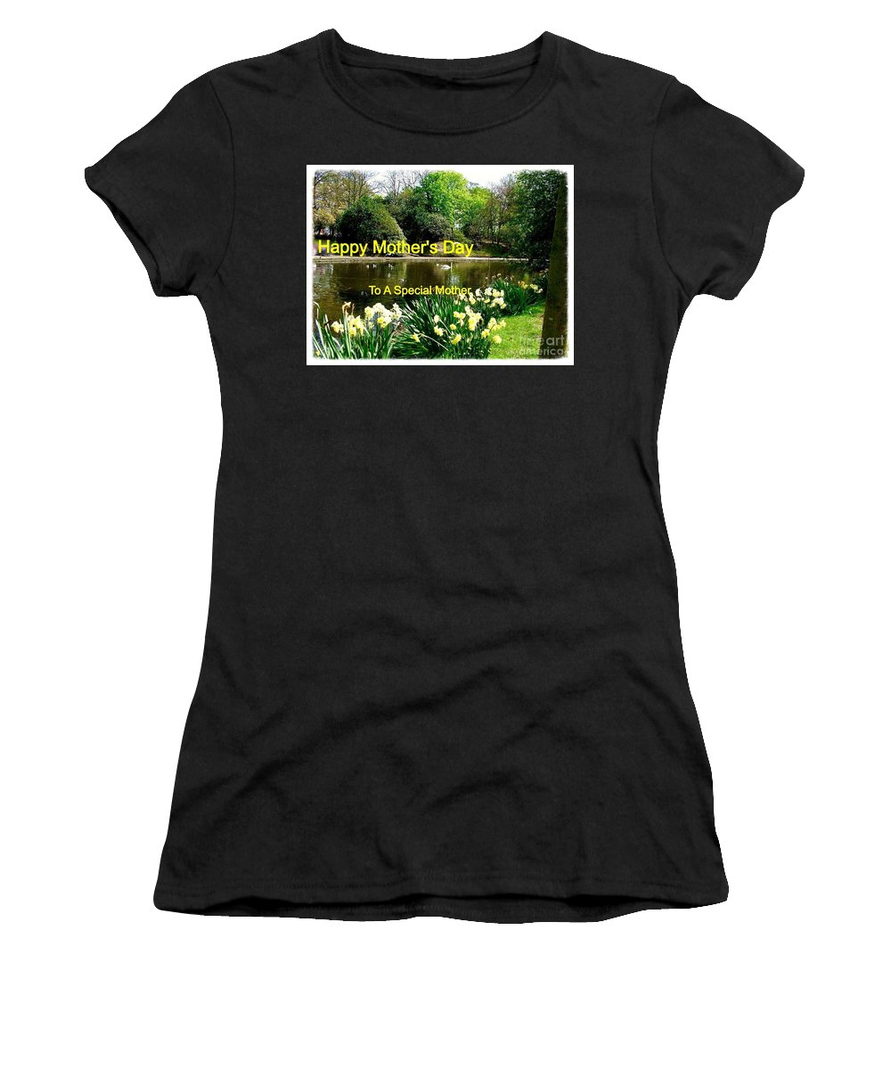 Parklands Women's T-Shirt (Athletic Fit) featuring the photograph Spring Mother's Day Greeting by Joan-Violet Stretch