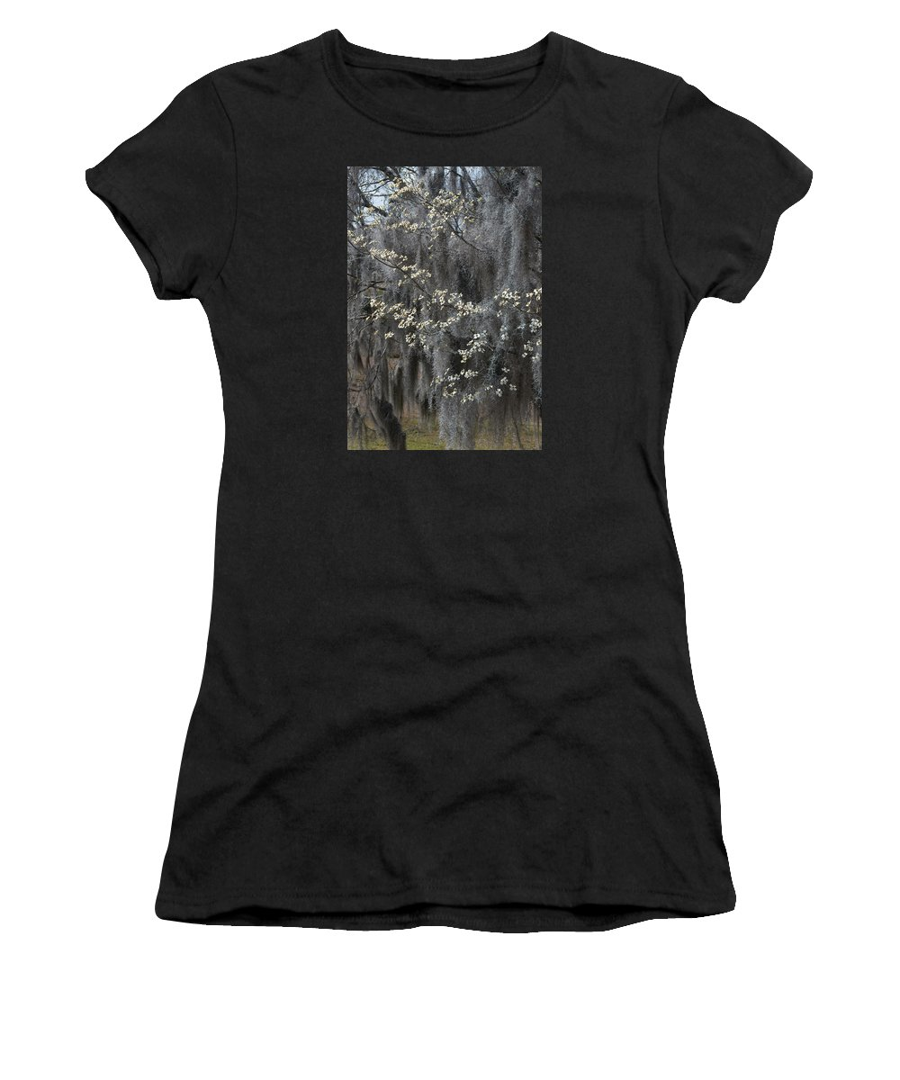 Photograph Women's T-Shirt featuring the photograph Spring Mystery by Suzanne Gaff