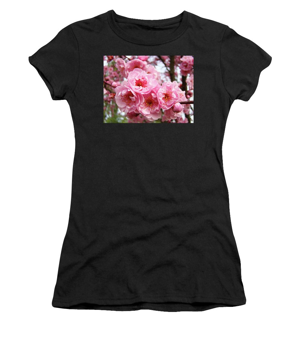 Blossom Women's T-Shirt (Athletic Fit) featuring the photograph Spring Pink Tree Blossoms Art Prints Baslee Troutman by Baslee Troutman