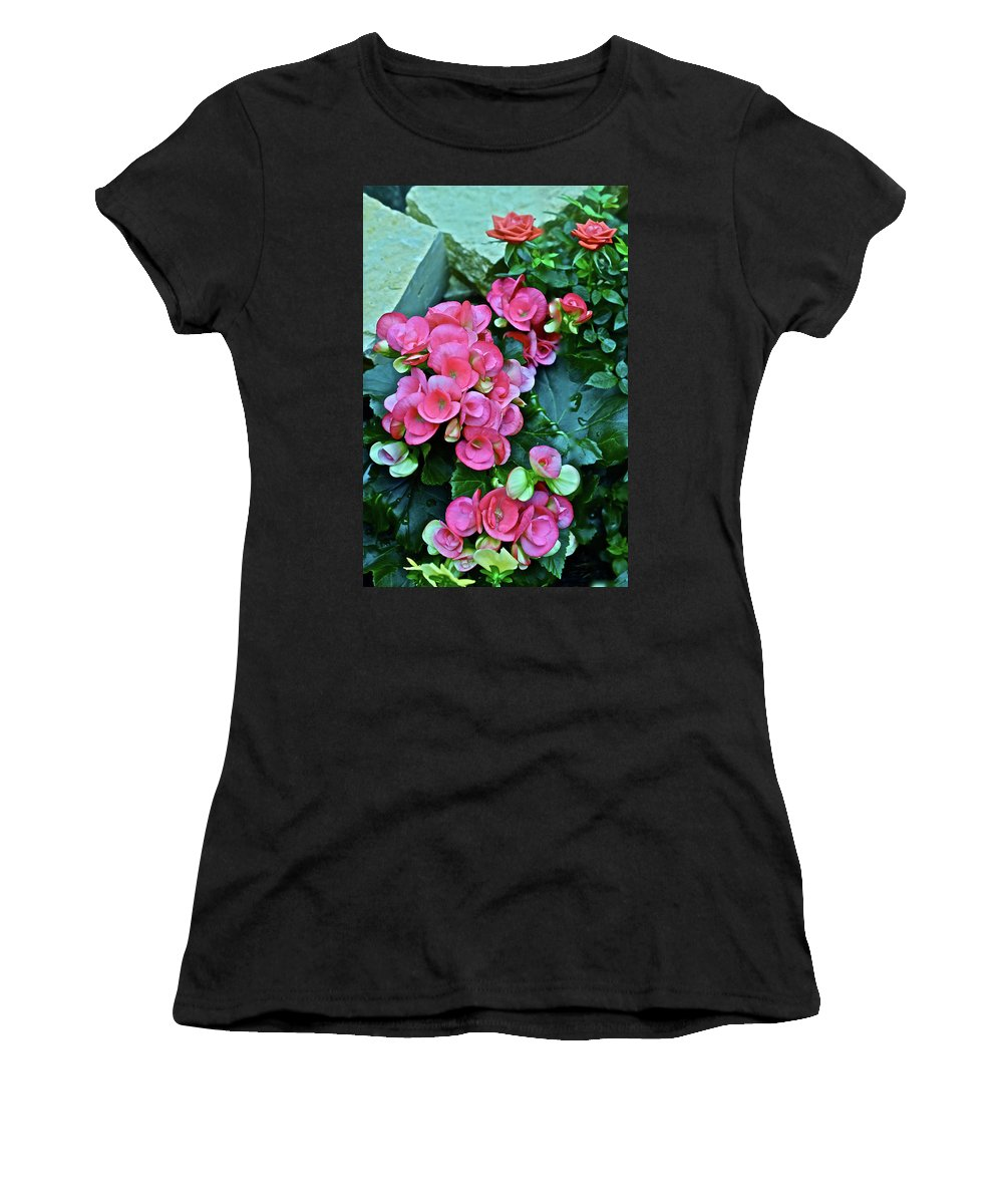 Begonias Women's T-Shirt (Athletic Fit) featuring the photograph Spring Show 17 Begonias And Roses by Janis Nussbaum Senungetuk