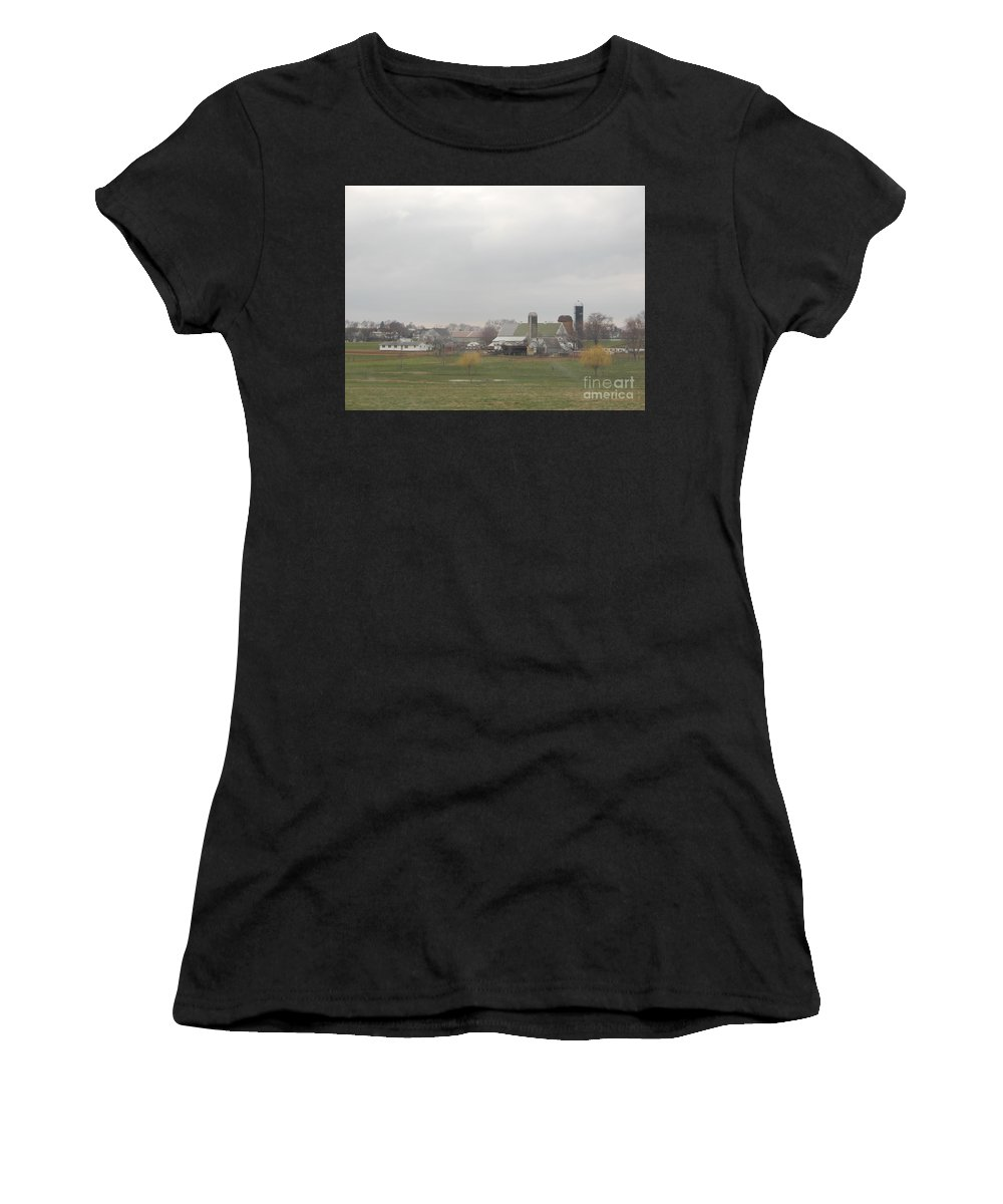 Amish Women's T-Shirt featuring the photograph Spring Skies Over An Amish Farm by Christine Clark