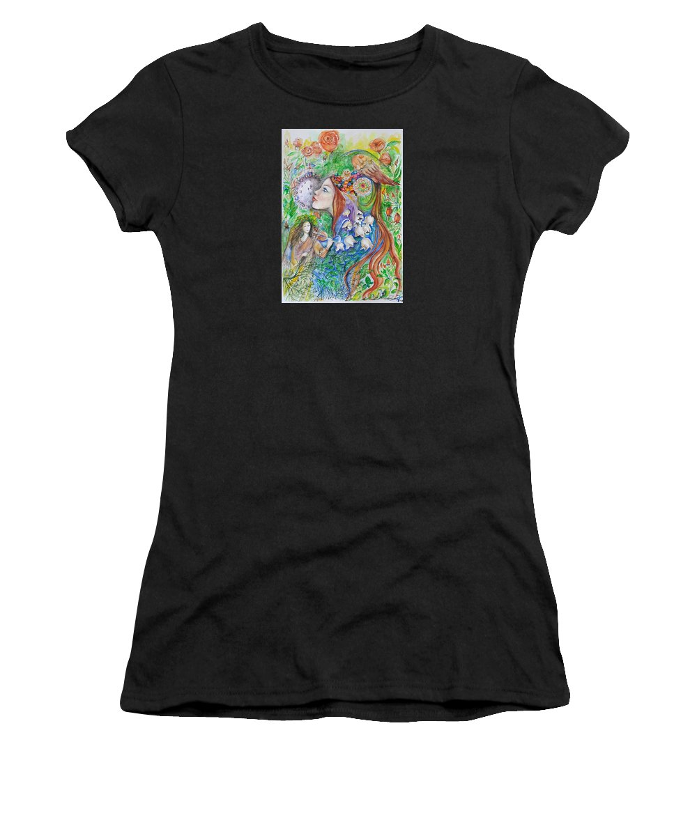 Lilies Of The Valley Women's T-Shirt (Athletic Fit) featuring the mixed media Spring Song by Rita Fetisov