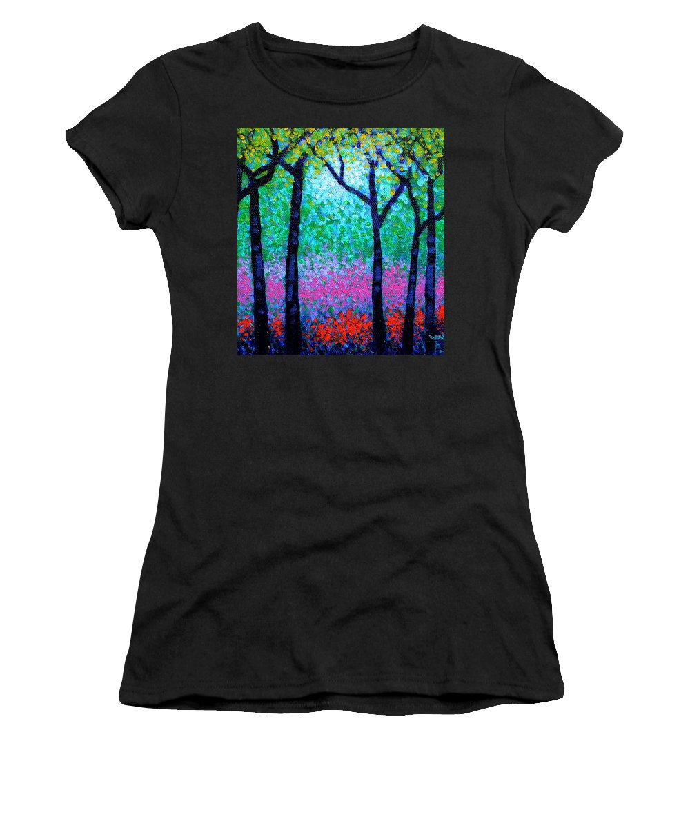 Landscape Women's T-Shirt (Athletic Fit) featuring the painting Spring Woodland by John Nolan