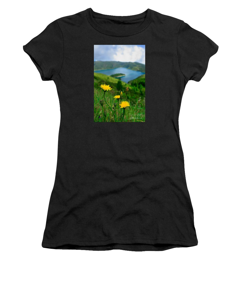 Caldera Women's T-Shirt featuring the photograph Springtime In Fogo Crater by Gaspar Avila