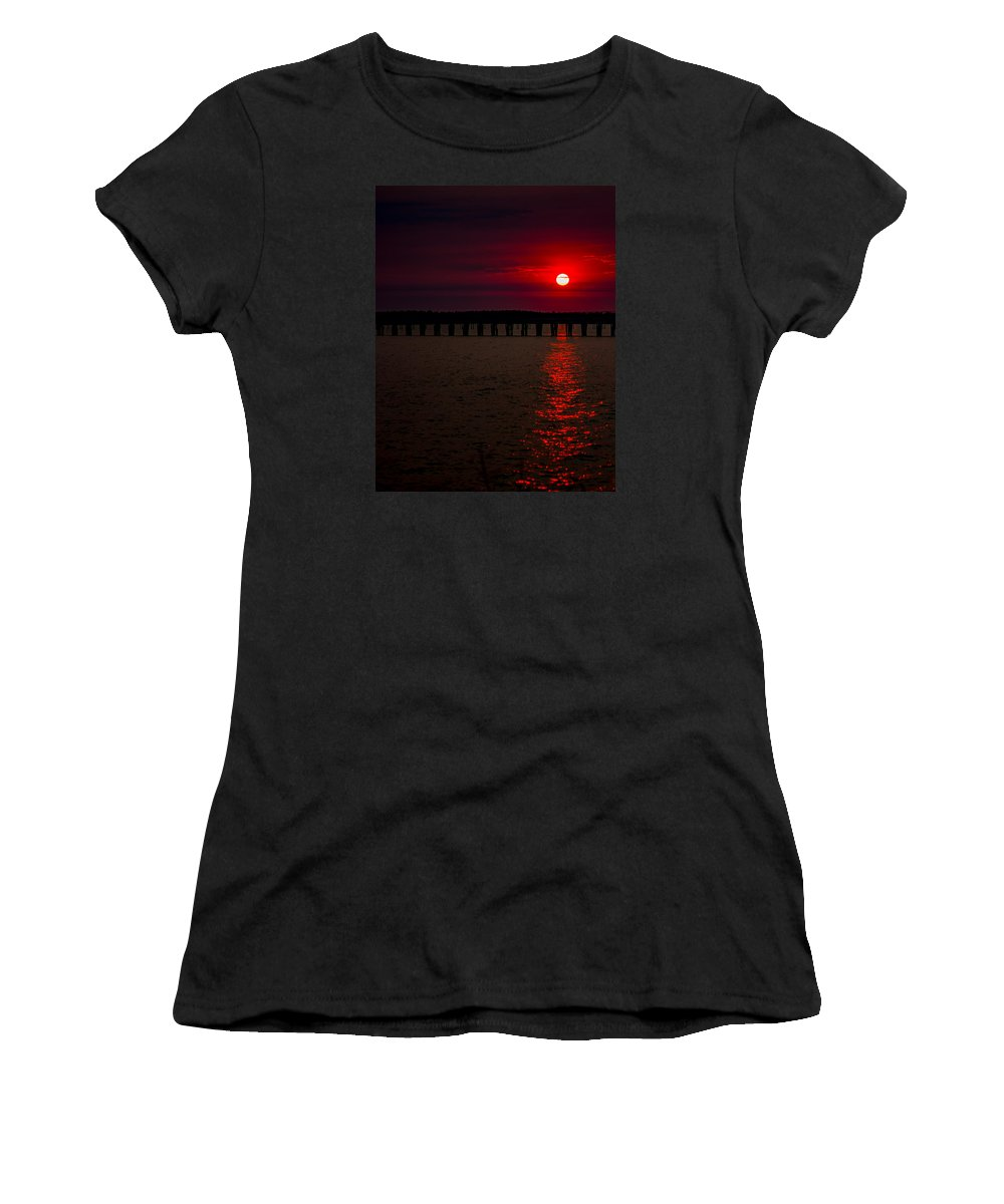 Sunsets Women's T-Shirt (Athletic Fit) featuring the photograph Squalicum Sunset by Adrian Ortiz