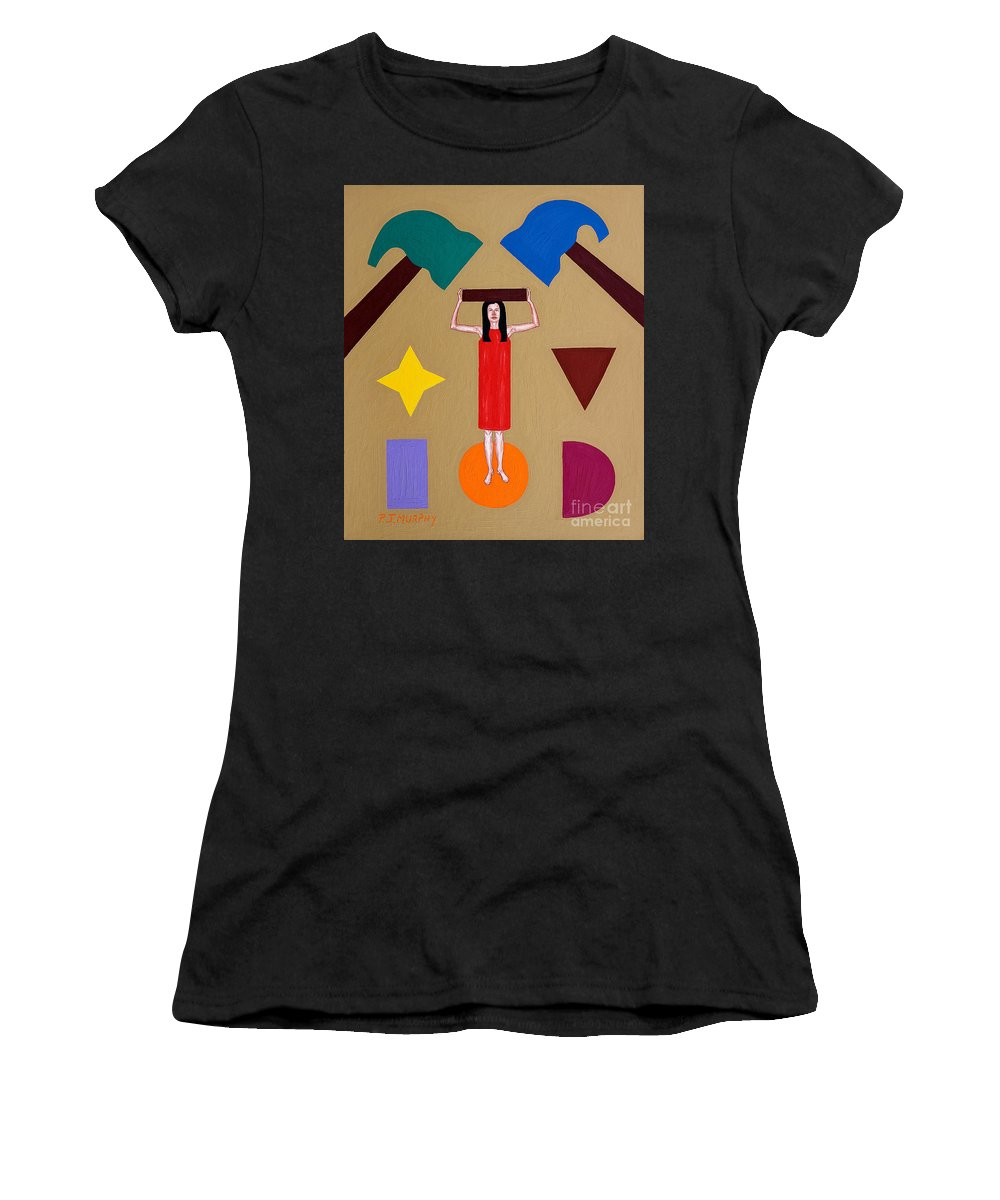Square Peg Women's T-Shirt featuring the painting Square Peg Round Hole by Patrick J Murphy