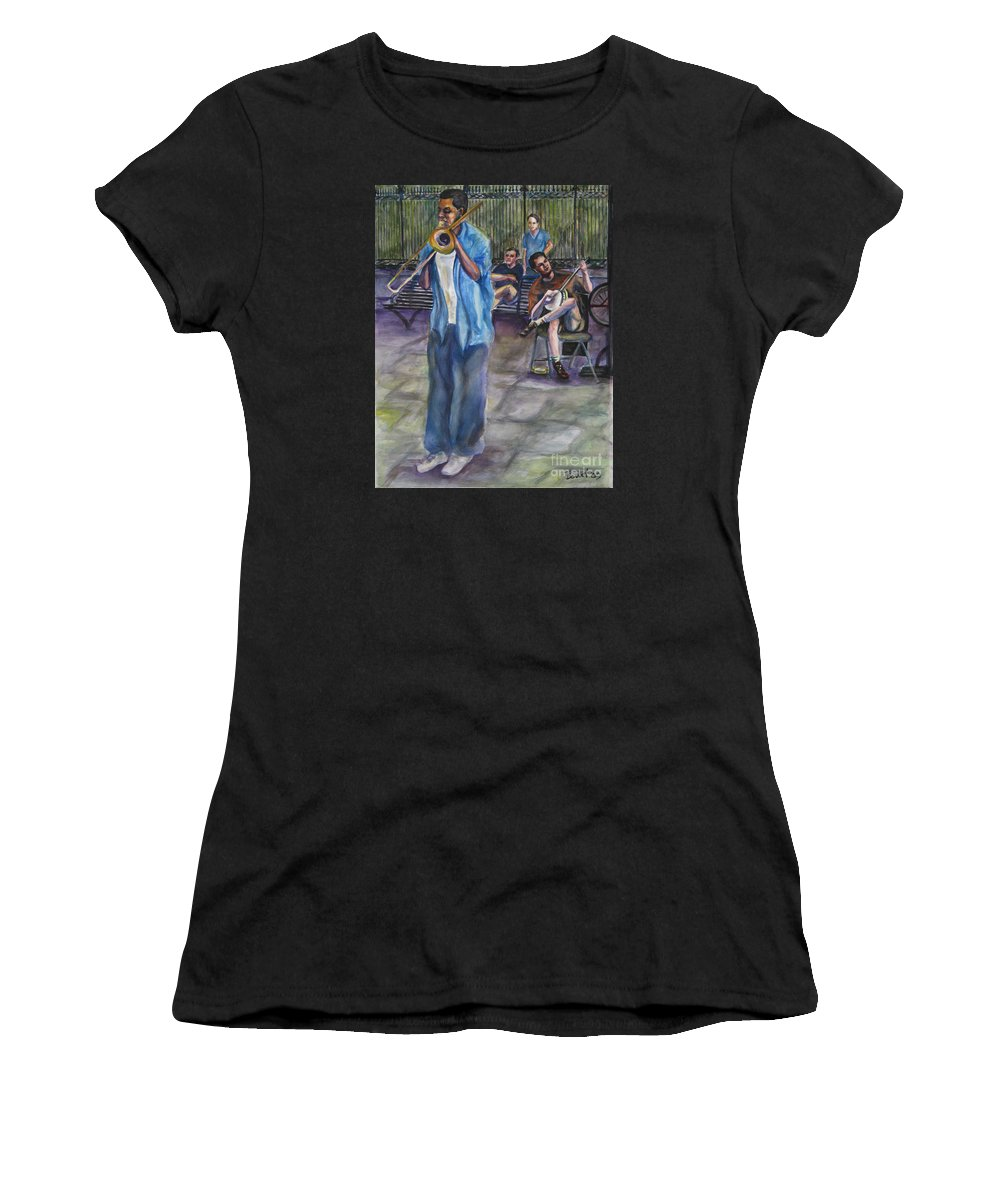 New Orleans Women's T-Shirt featuring the painting Square Slide by Beverly Boulet