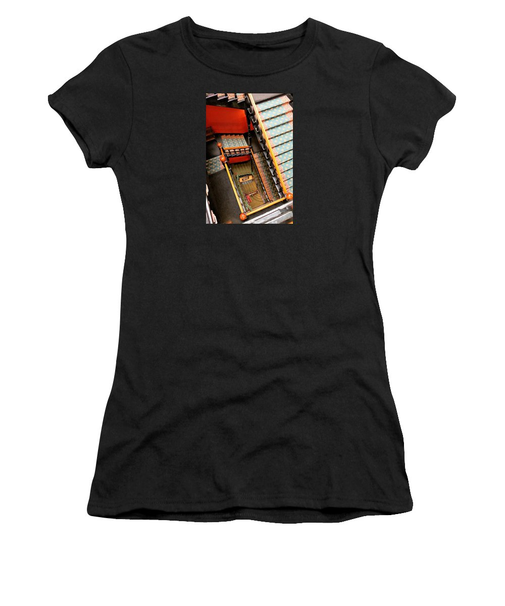 Stairs Women's T-Shirt (Athletic Fit) featuring the photograph Square Spiral by Ruth Ann Mertens