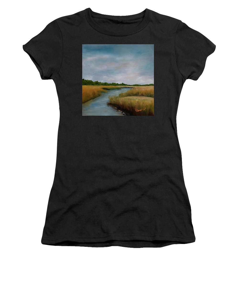 Mars Women's T-Shirt featuring the painting Ssi Marsh by Dawn Maloney