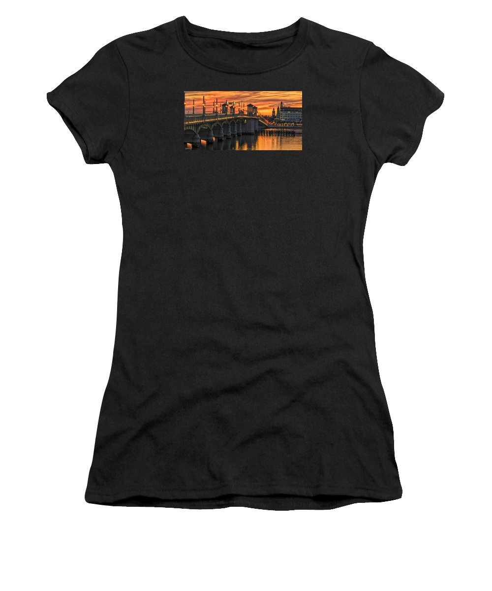 St Augustine Women's T-Shirt (Athletic Fit) featuring the photograph St Augustine Bridge Of Lions Sunset Dsc00565_16 by Greg Kluempers