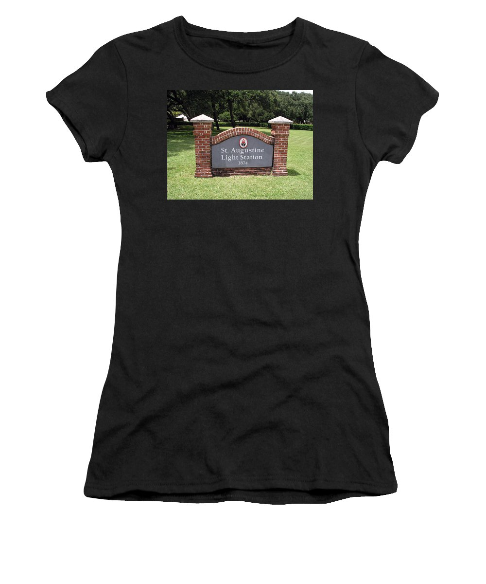 Lighthouse; Light; House; Keeper; St. Augustine; Florida; Coast; Shine; Fog; Storms; U.s.; Coast; Gu Women's T-Shirt (Athletic Fit) featuring the photograph St. Augustine Florida Lighthouse by Allan Hughes