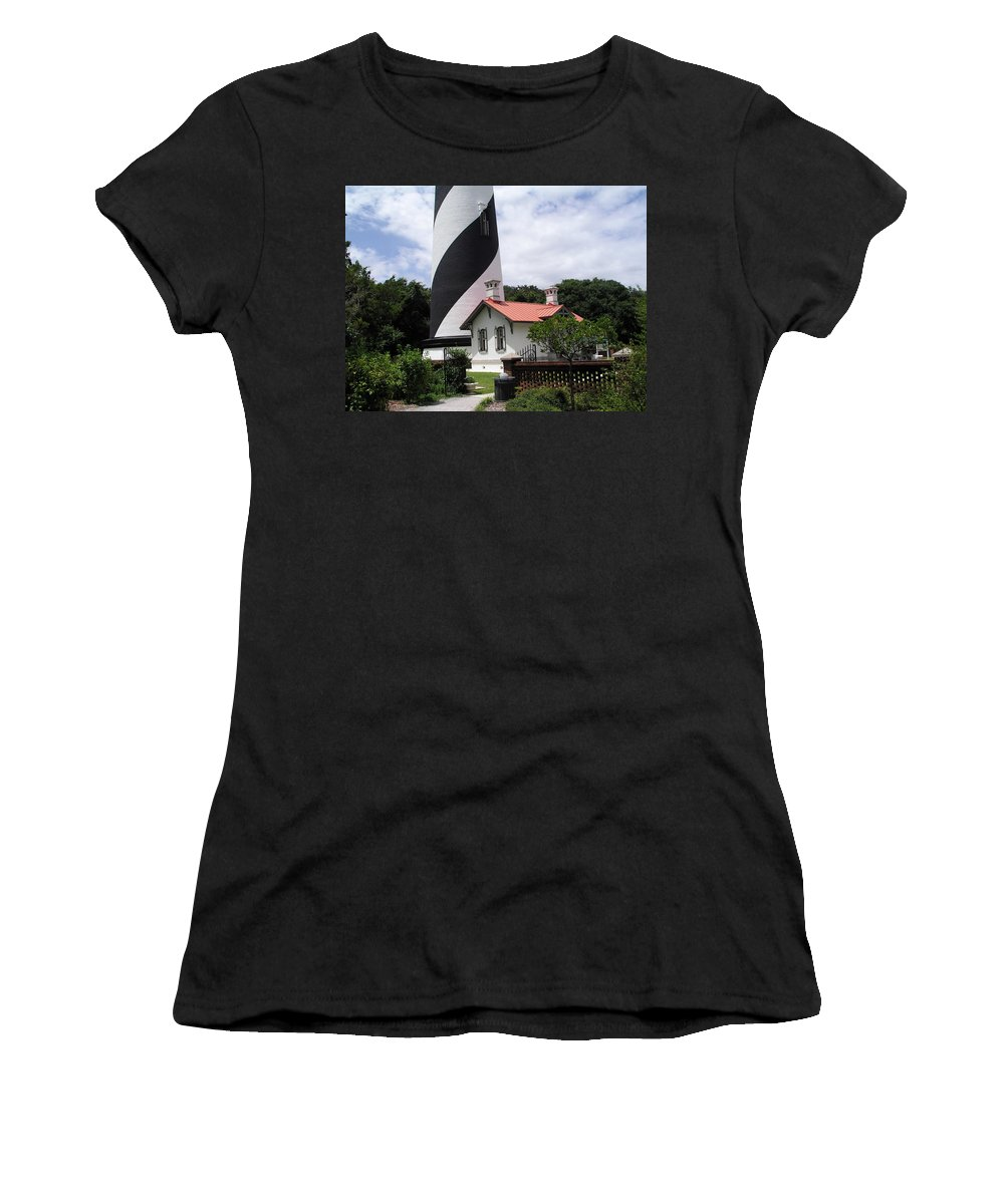 Cottage; Residence; Lighthouse; Light; House; Keeper; St. Augustine; Florida; Coast; Shine; Fog; Sto Women's T-Shirt (Athletic Fit) featuring the photograph St. Augustine Light On The East Coast Of Florida by Allan Hughes