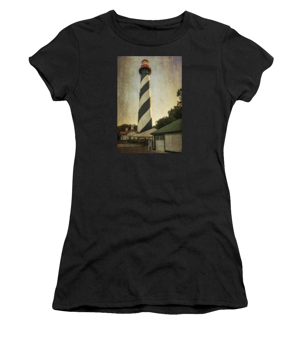 St Augustine Women's T-Shirt (Athletic Fit) featuring the photograph St Augustine Lighthouse Dsc00390_16 by Greg Kluempers