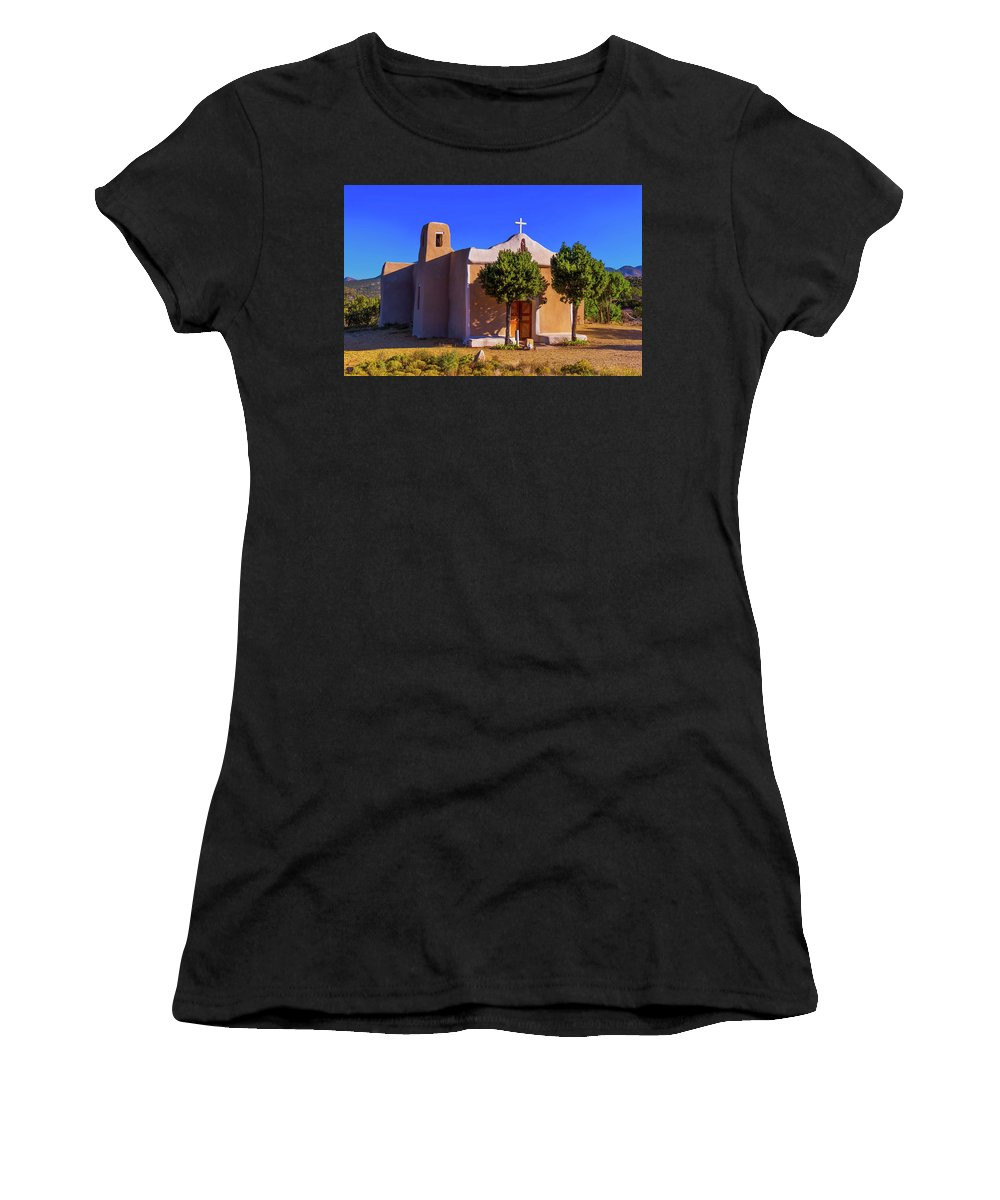 Church Women's T-Shirt featuring the photograph St. Francis De Assisi Adobe Church by Stephen Anderson