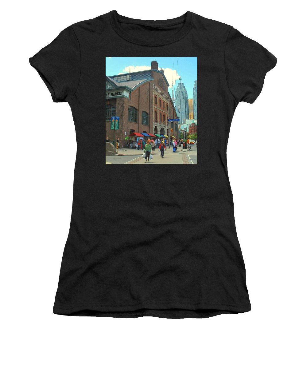 Market Women's T-Shirt (Athletic Fit) featuring the photograph St Lawrence Market by Ian MacDonald