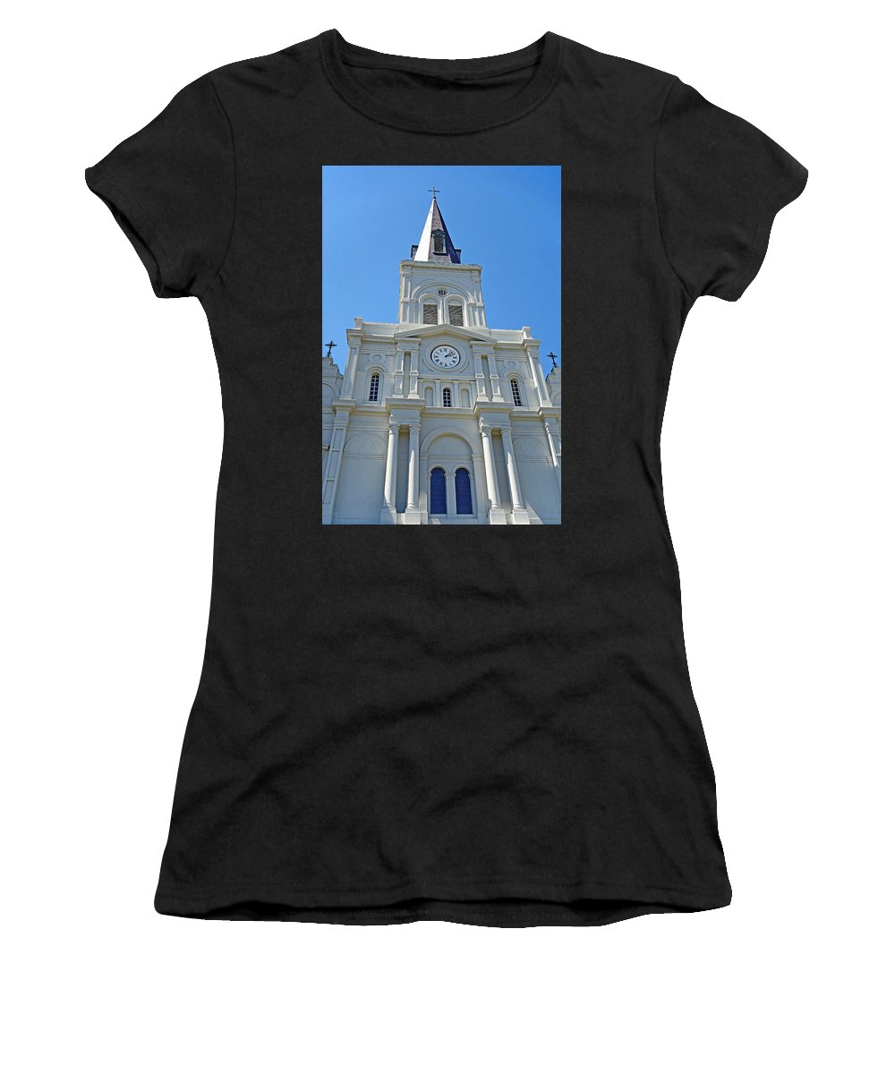 St. Louis Cathedral Women's T-Shirt (Athletic Fit) featuring the photograph St. Louis Cathedral Study 1 by Robert Meyers-Lussier
