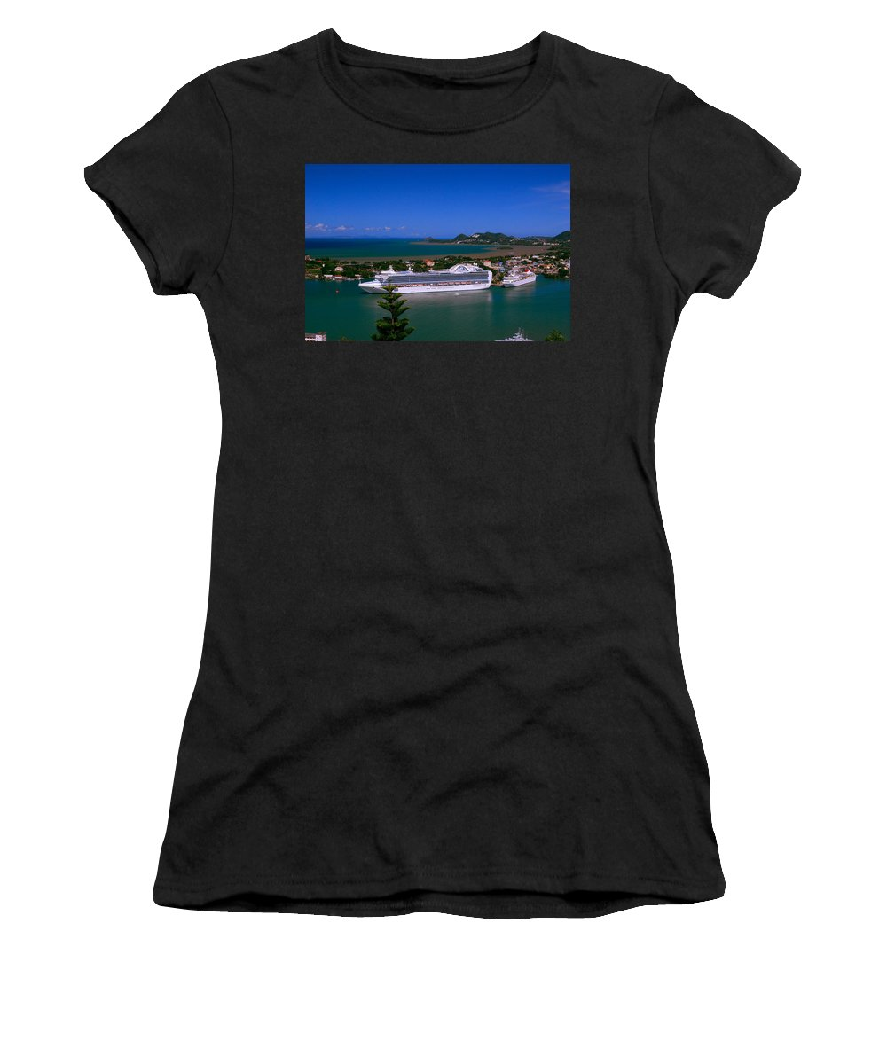 Cruise Ships Women's T-Shirt (Athletic Fit) featuring the photograph St. Lucia Port by Gary Wonning