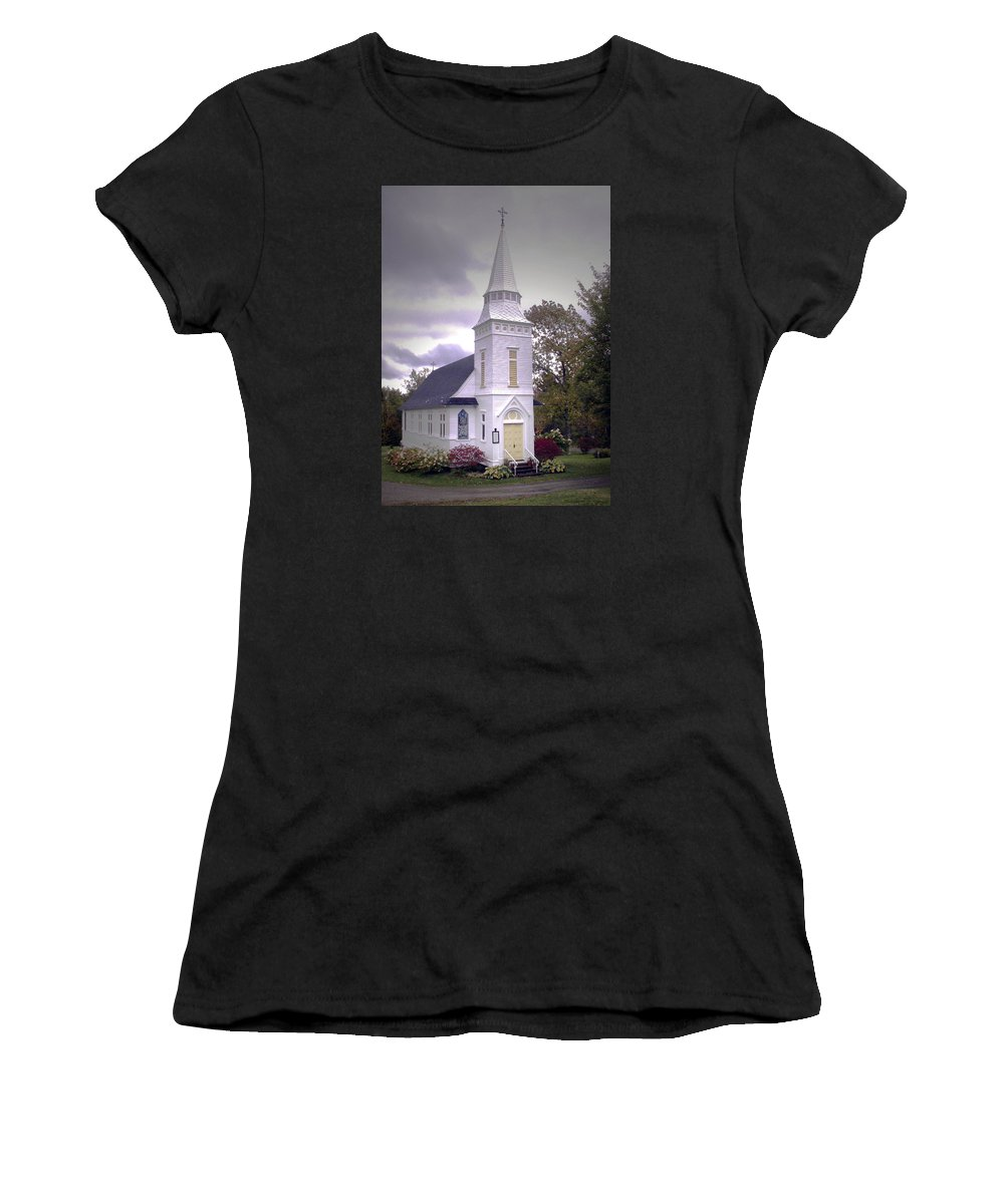 Church Women's T-Shirt (Athletic Fit) featuring the photograph St. Mathews Chapel In Sugar Hill by Nancy Griswold
