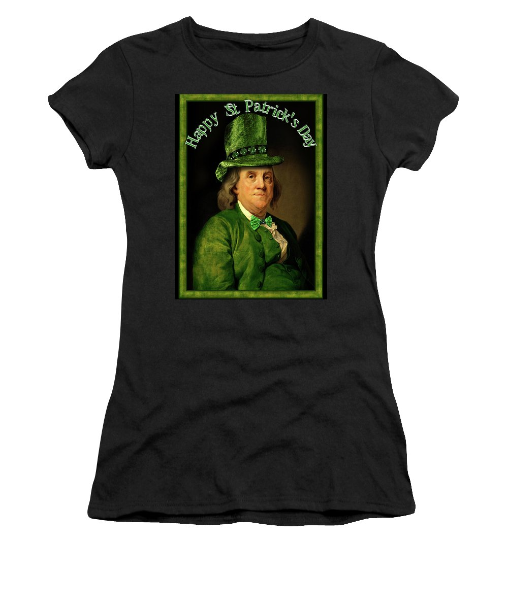 Ben Franklin Women's T-Shirt featuring the painting St Patrick's Day Ben Franklin by Gravityx9 Designs