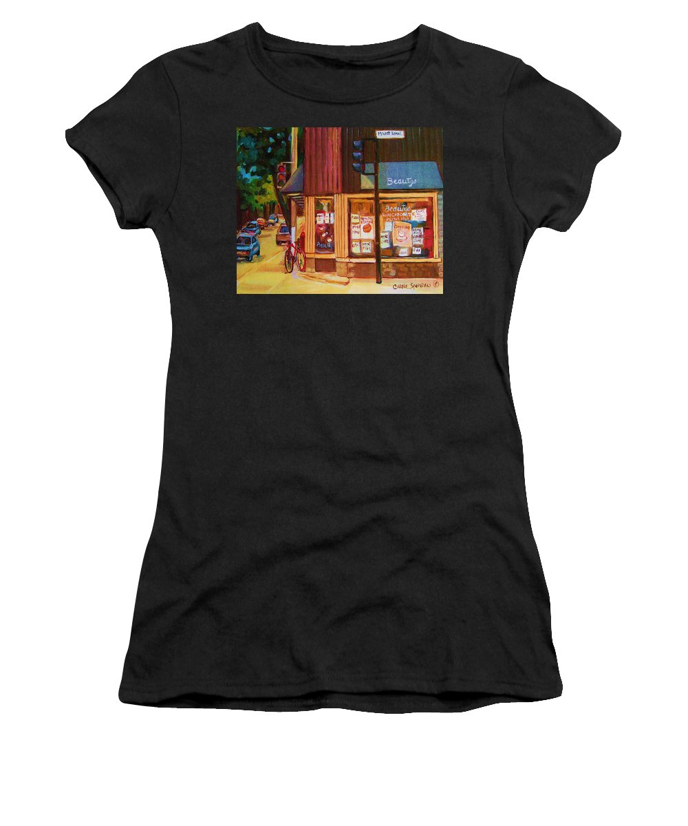 Beautys Women's T-Shirt (Athletic Fit) featuring the painting St Urbain And Mount Royal by Carole Spandau