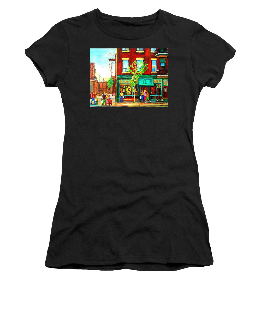 Cityscapes Women's T-Shirt (Athletic Fit) featuring the painting St. Viateur Bagel With Shoppers by Carole Spandau