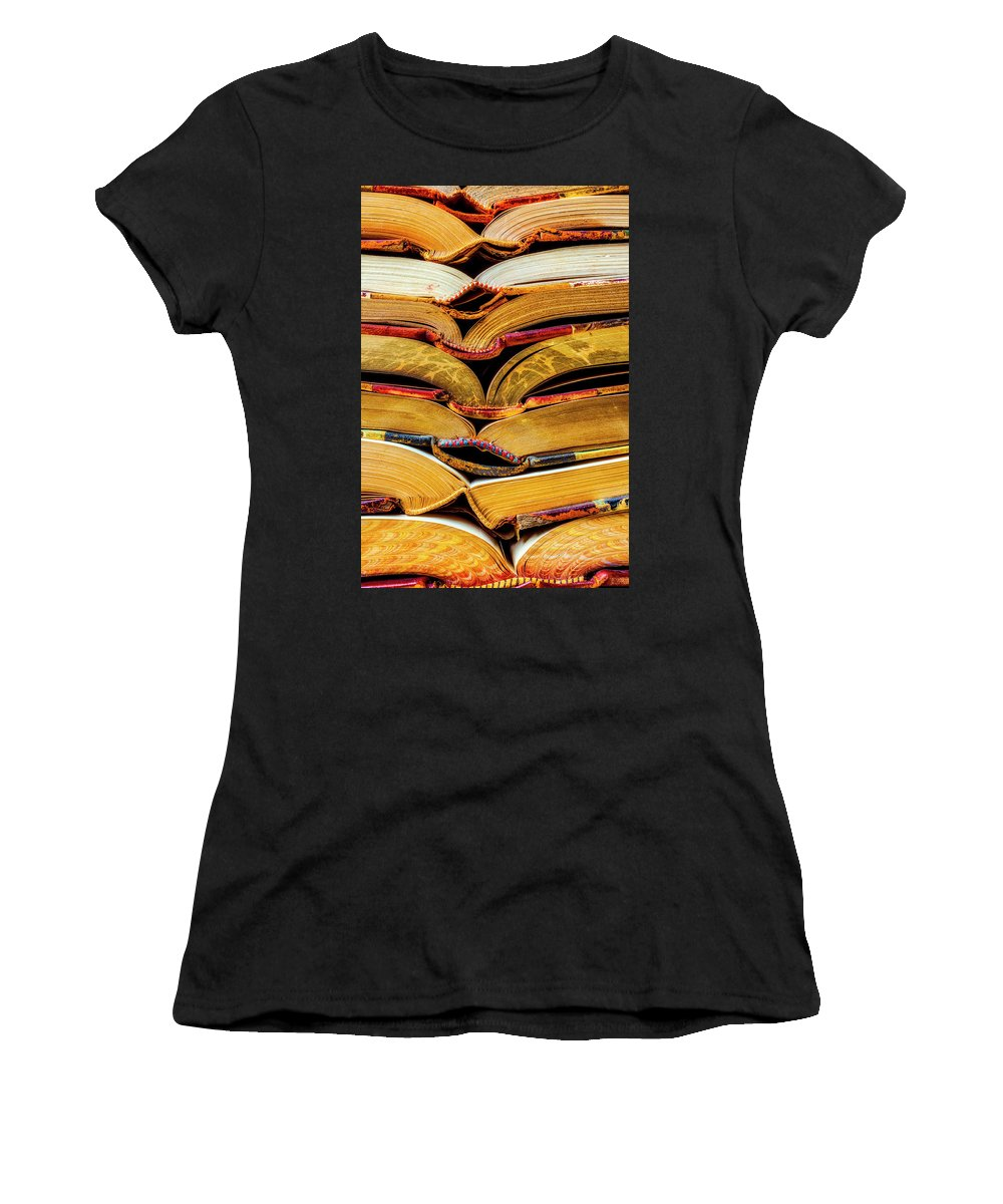 Old Women's T-Shirt featuring the photograph Stacked Book Spines by Garry Gay
