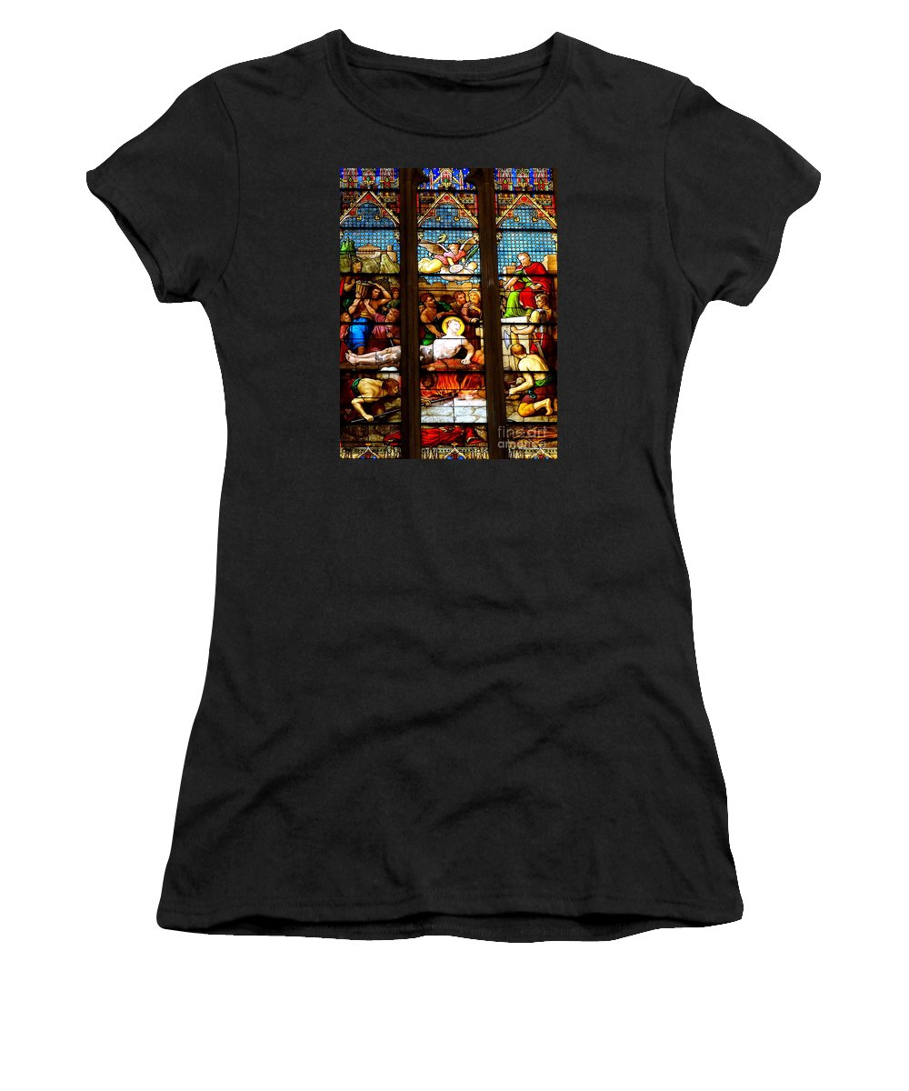 Stained Glass Windows Women's T-Shirt (Athletic Fit) featuring the photograph Stained Glass Beauty #38 by Ed Weidman