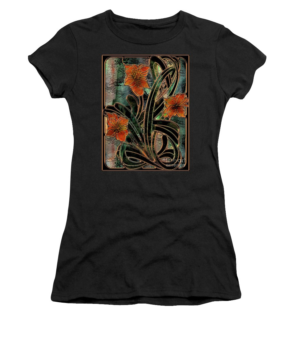 Stained Glass Women's T-Shirt featuring the painting Stained Glass Parabolas by Mindy Sommers