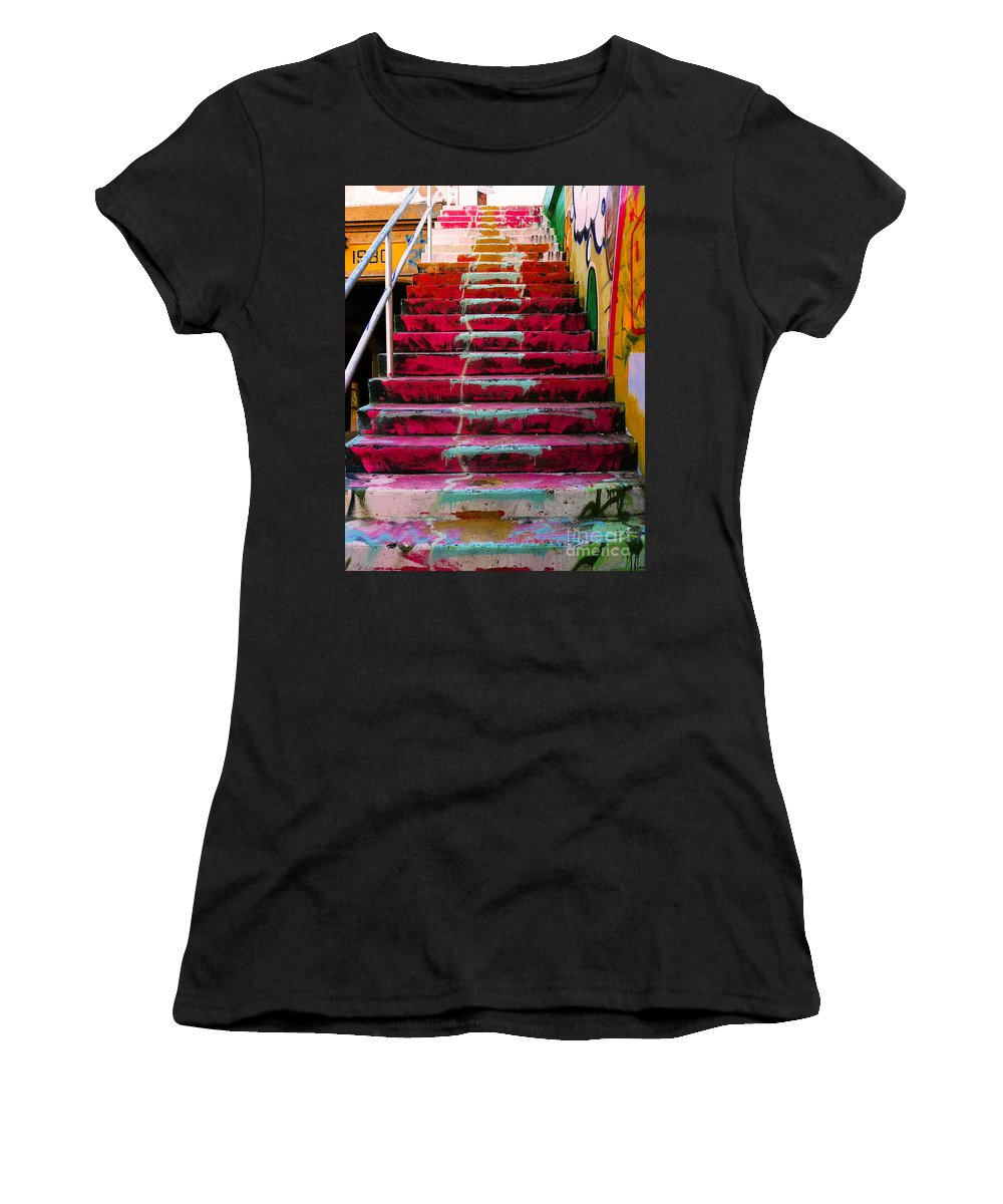 Stairs Women's T-Shirt (Athletic Fit) featuring the photograph Stairs by Angela Wright