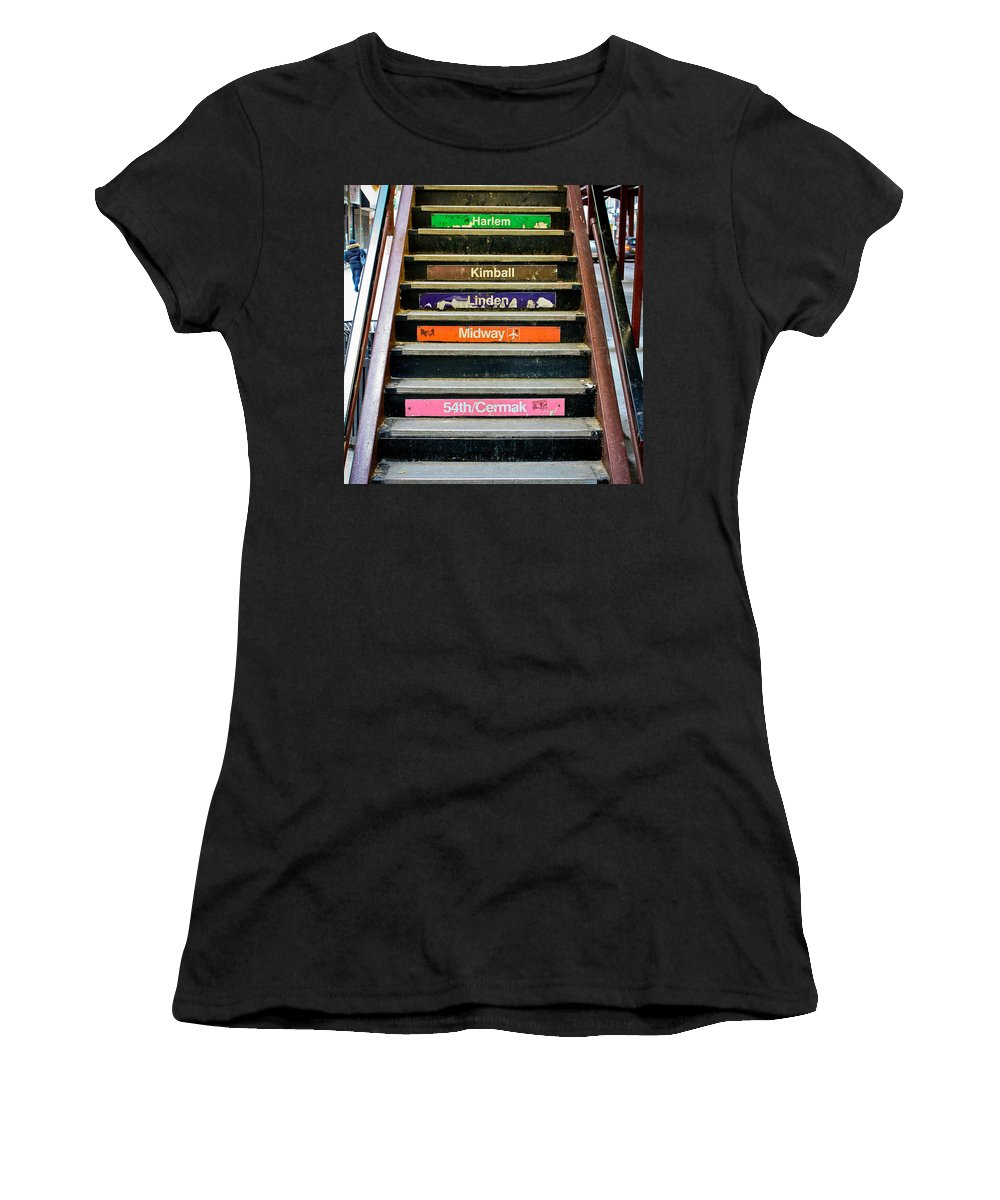 Chicago Women's T-Shirt featuring the photograph Stairs To The Chicago L by Anthony Doudt
