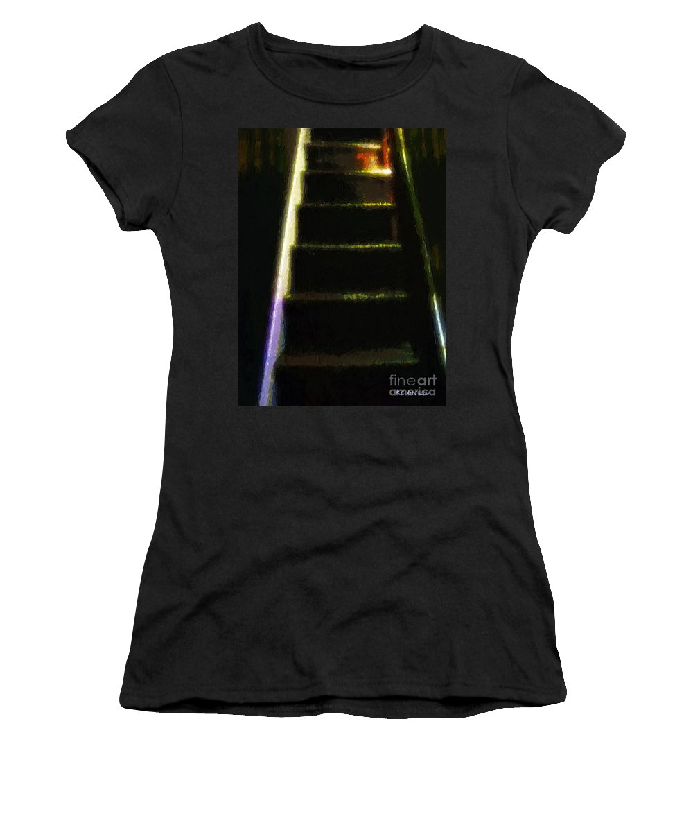 Stairs Women's T-Shirt (Athletic Fit) featuring the painting Stairs To The Madwoman's Attic by RC DeWinter