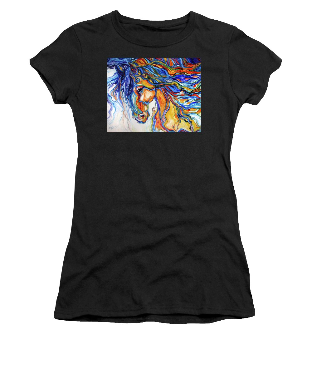 Equine Women's T-Shirt (Athletic Fit) featuring the painting Stallion Southwest By M Baldwin by Marcia Baldwin