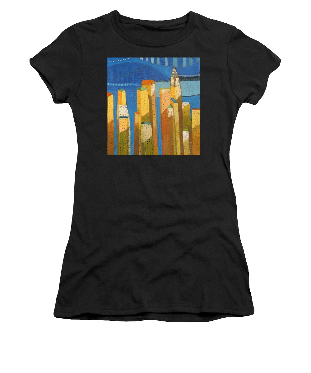 Abstract Cityscape Women's T-Shirt (Athletic Fit) featuring the painting Standing High by Habib Ayat