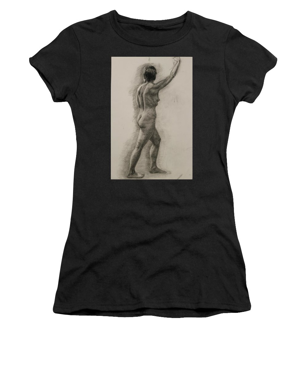 Female Figure Women's T-Shirt (Athletic Fit) featuring the drawing Standing Nude by Heather Olsen