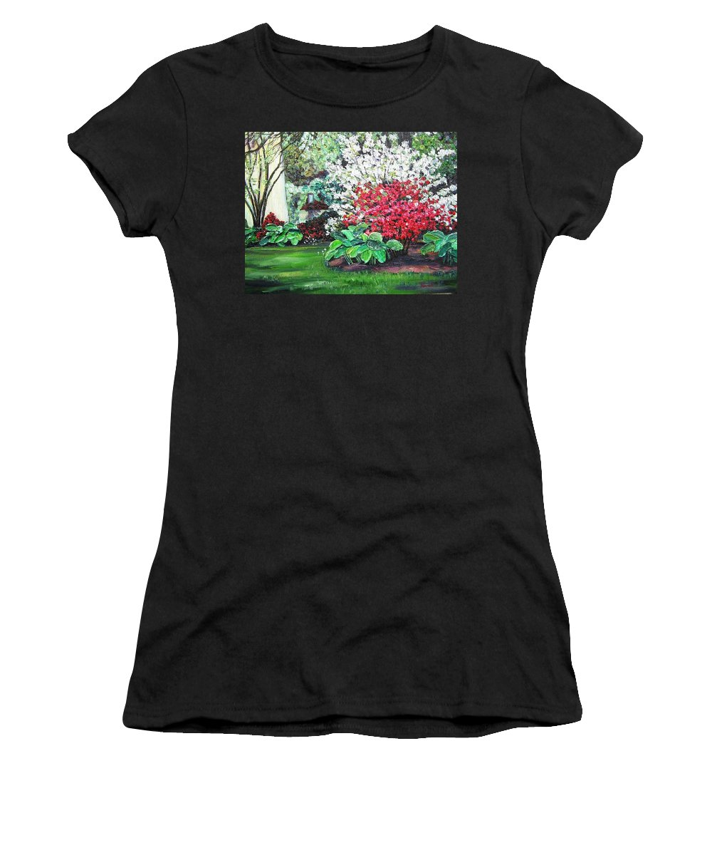 Blossoms Women's T-Shirt (Athletic Fit) featuring the painting Stanely Park Blossoms by Richard Nowak