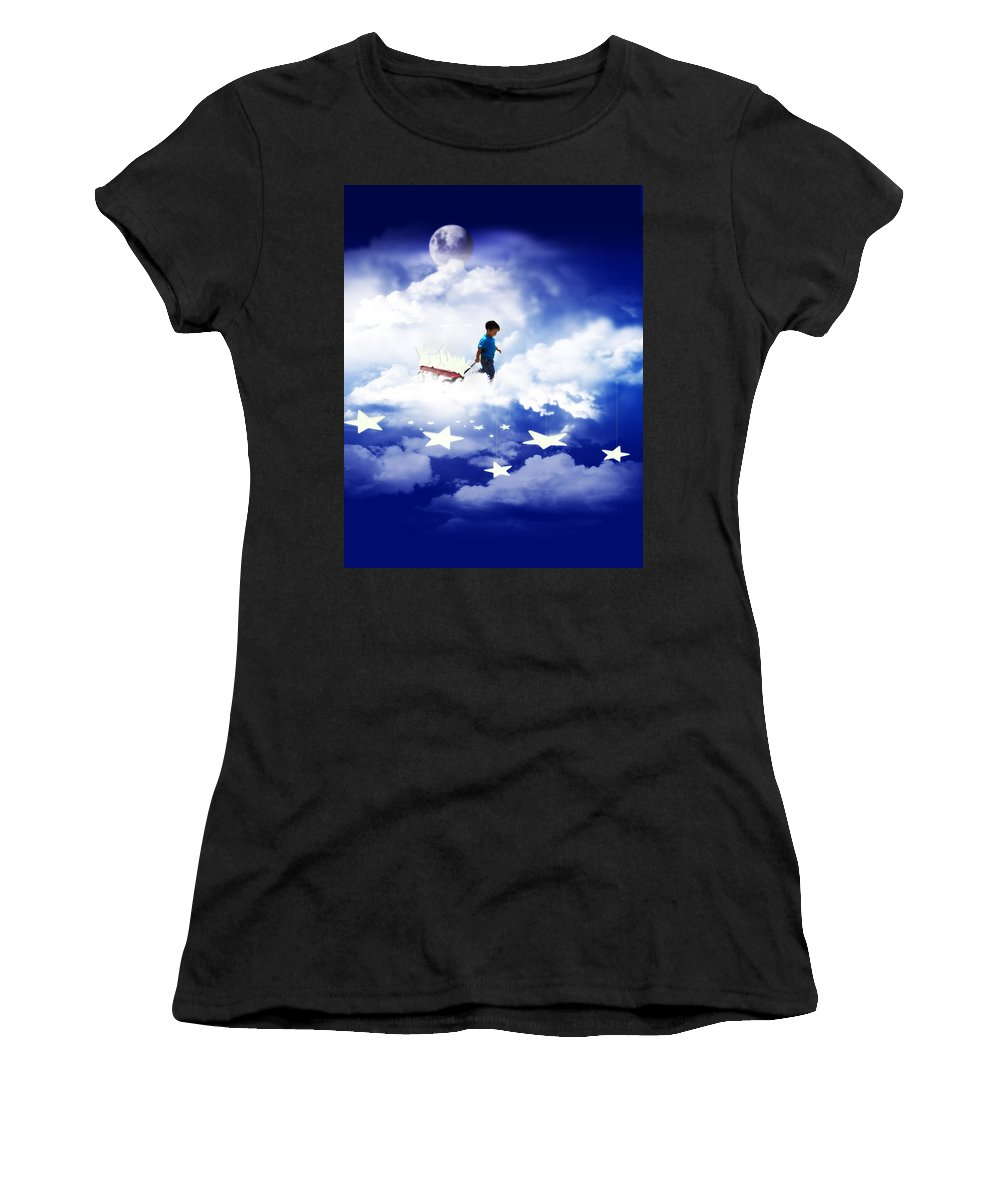 Stars Women's T-Shirt (Athletic Fit) featuring the mixed media Star Boy by Gravityx9 Designs
