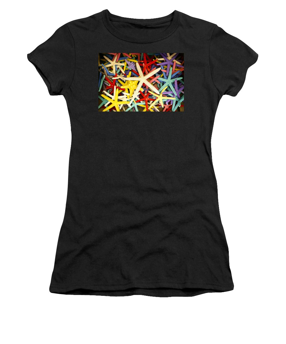 Starfish Women's T-Shirt (Athletic Fit) featuring the photograph Starfish Dressed Up by Marilyn Hunt