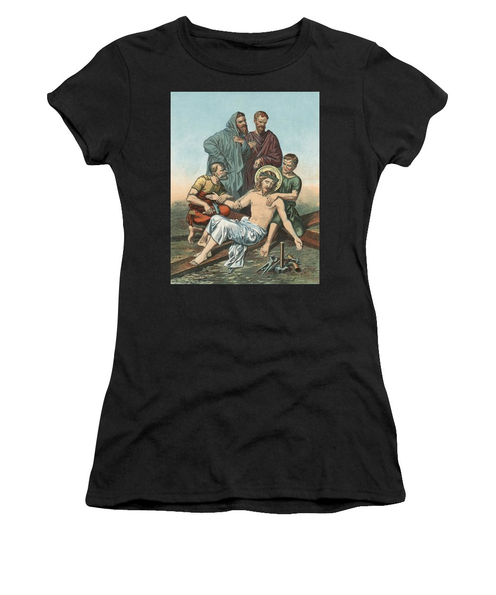 Catholic; Bible; Religion; Truth; Station Xi; Jesus; Nailed; Cross Women's T-Shirt (Athletic Fit) featuring the painting Station Xi Jesus Is Nailed To The Cross by English School