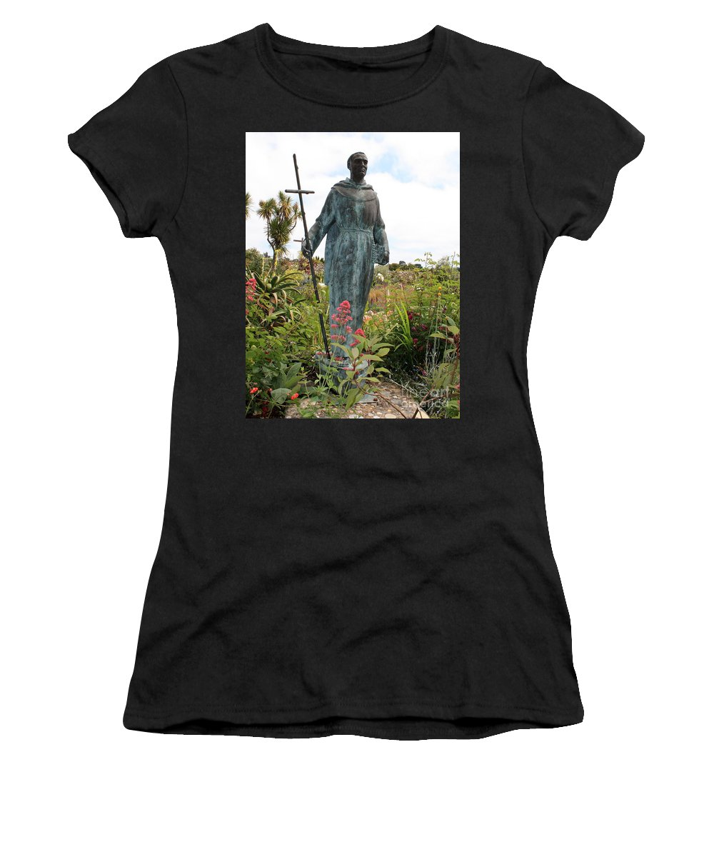 Father Serra Women's T-Shirt (Athletic Fit) featuring the photograph Statue Of Father Serra At Carmel Mission by Carol Groenen