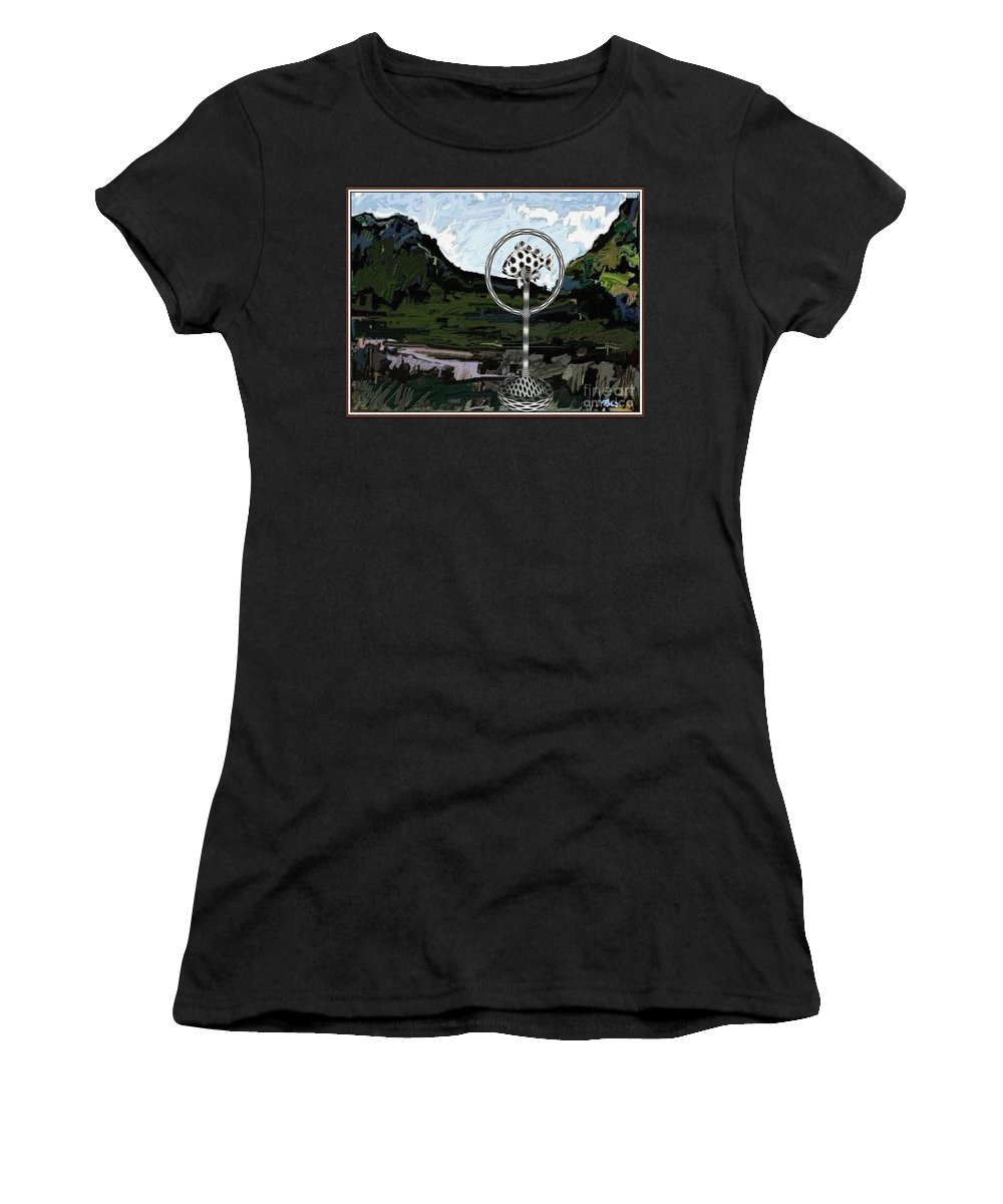 Modern Painting Women's T-Shirt featuring the mixed media Statue Of Fish In The Field by Pemaro