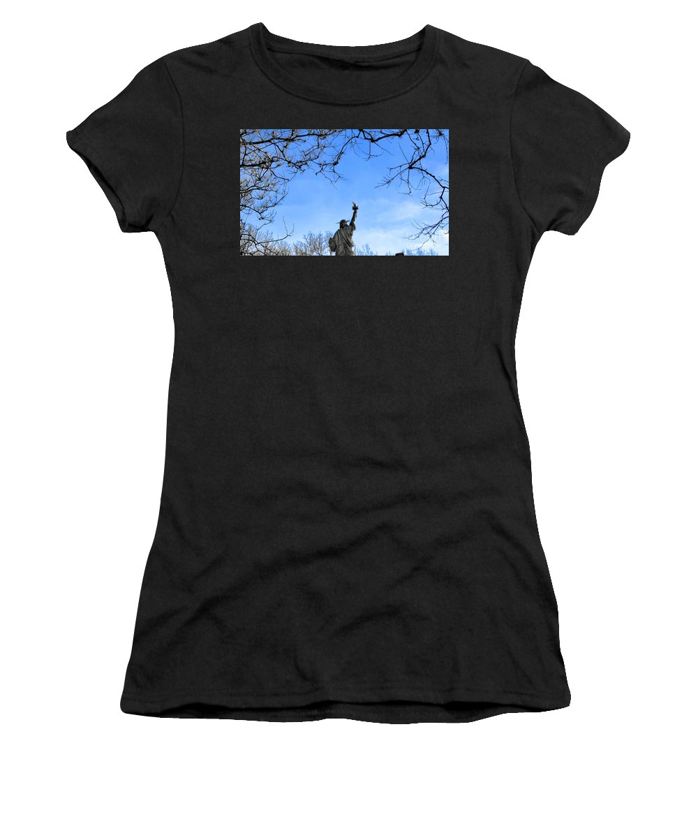 Statue Of Liberty Women's T-Shirt featuring the photograph Statue Of Liberty Back View by Chuck Kuhn