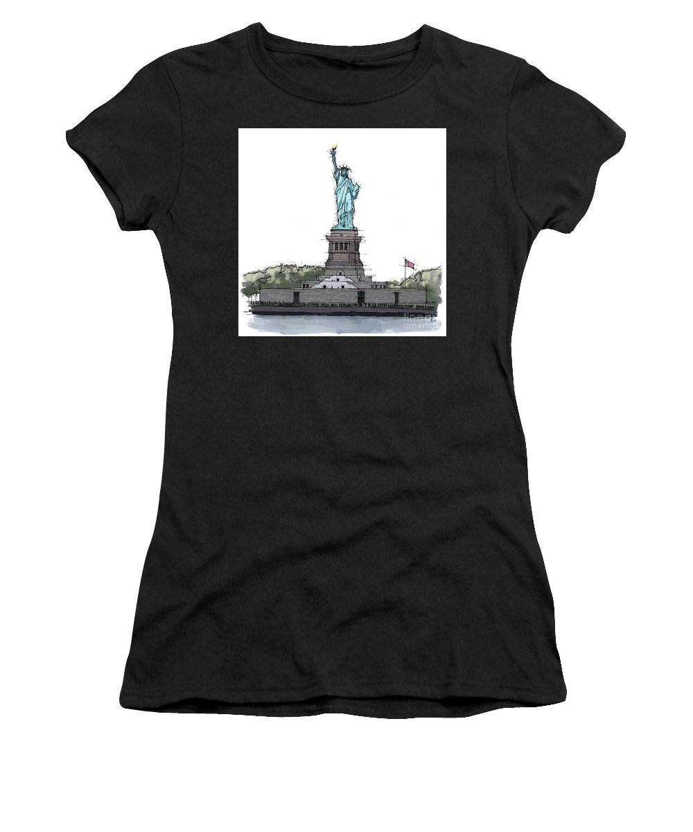St. Patrick�s Cathedral Women's T-Shirt (Athletic Fit) featuring the painting Statue Of Liberty, New York Sketch by Drawspots Illustrations