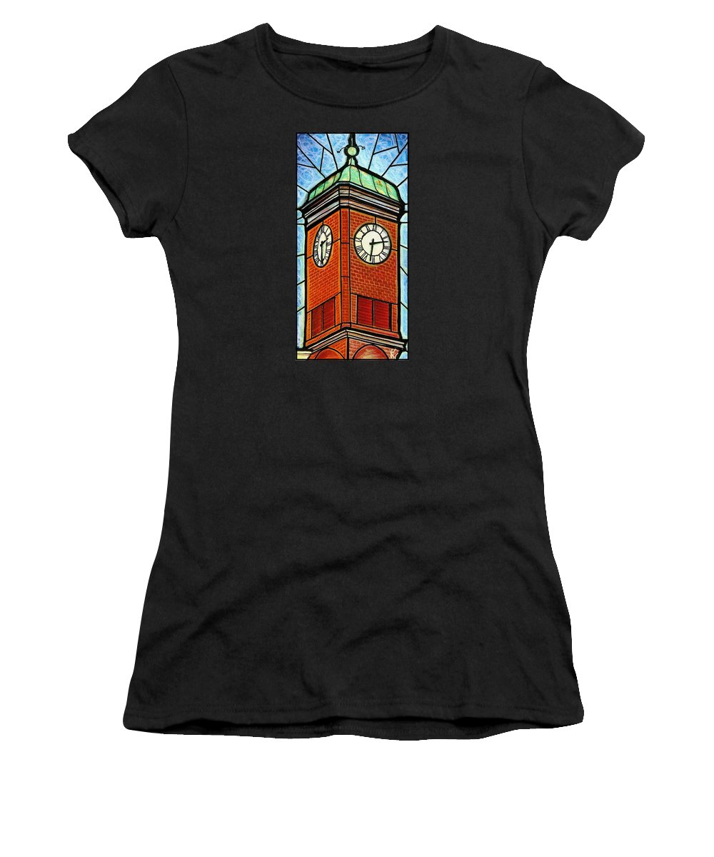 Clocks Women's T-Shirt featuring the painting Staunton Clock Tower Landmark by Jim Harris