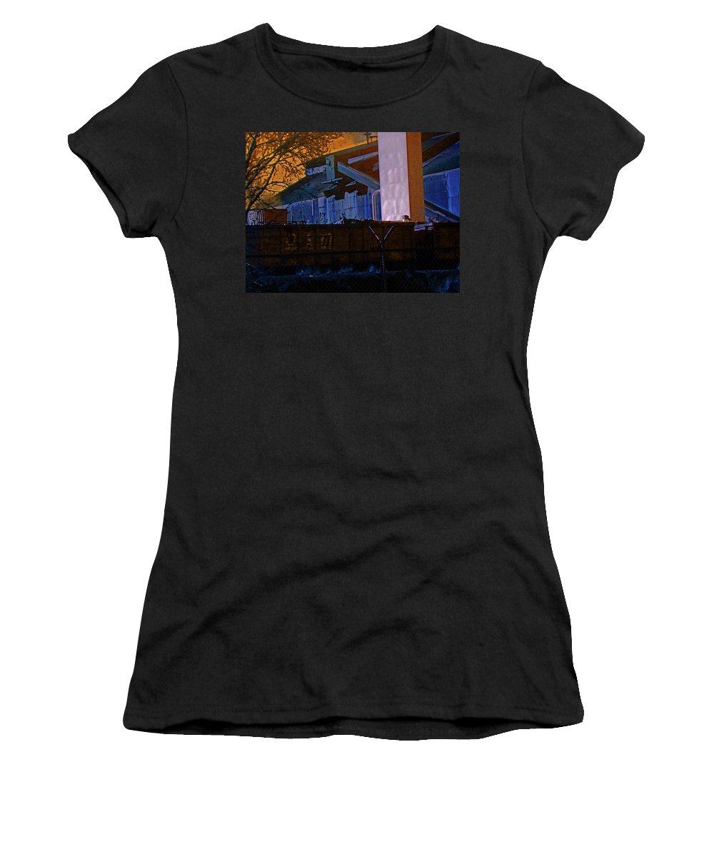 Abstract Women's T-Shirt (Athletic Fit) featuring the digital art Steel City Cfi 4 by Lenore Senior