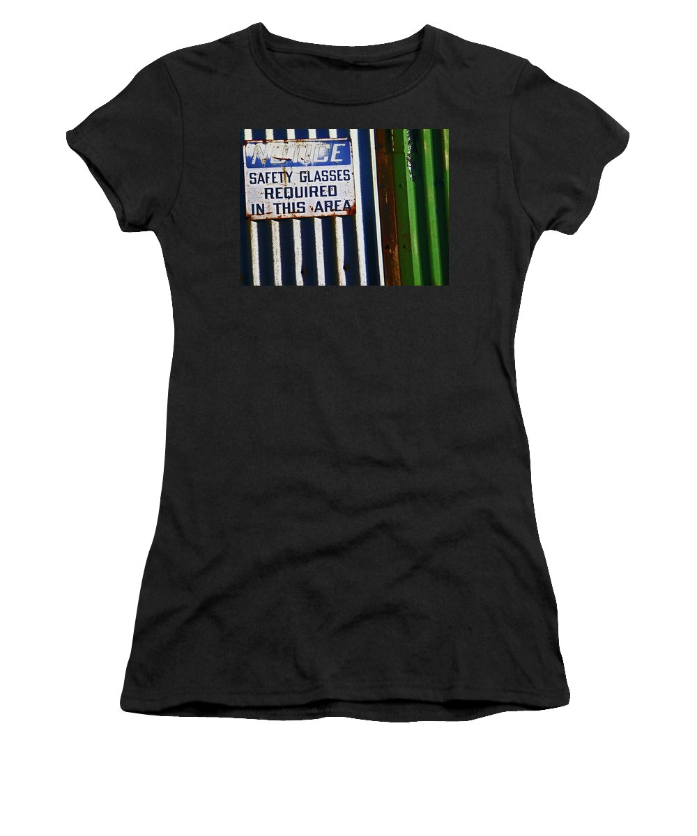 Abstract Women's T-Shirt (Athletic Fit) featuring the photograph Steel City--safety Glasses by Lenore Senior